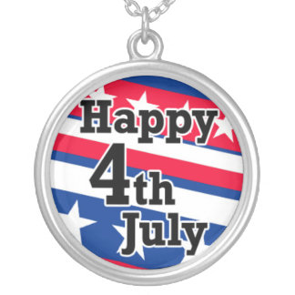Happy 4th July on Patriotic Stars and Stripes Round Pendant Necklace