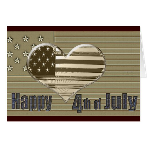 Happy 4th July USA flag and heart Cards