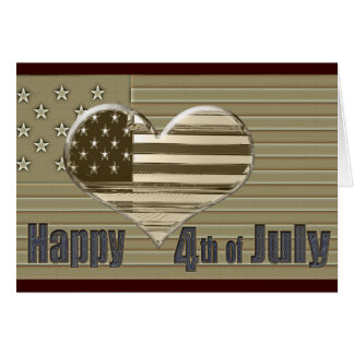 Happy 4th July USA flag and heart Greeting Card