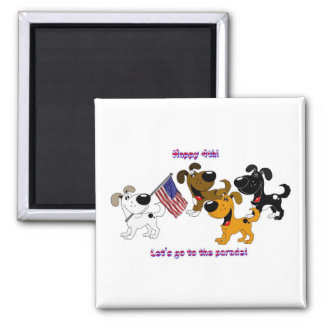 Happy 4th! Let's go to the parade! Square Magnet