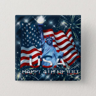 HAPPY 4TH OF JULY 15 CM SQUARE BADGE