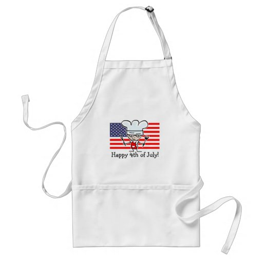 Happy 4th of July BBQ apron with US flag and chef