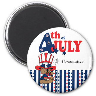 Happy 4th of July Bear 6 Cm Round Magnet