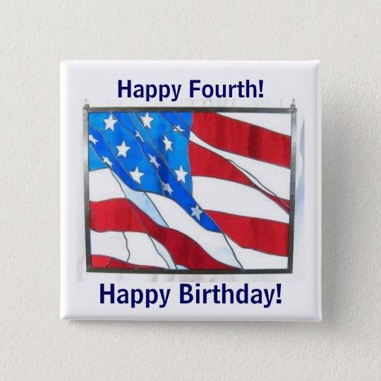 Happy 4th-of-July Birthday! 15 Cm Square Badge