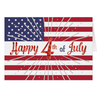 Happy 4th of July Card - American Flag and Sparkle