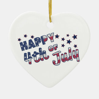 Happy 4th Of July Ceramic Heart Decoration
