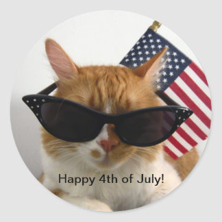 Happy 4th of July Cool Cat with Flag Sticker