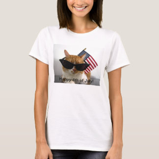 Happy 4th of July Cool Cat with Flag T-Shirt