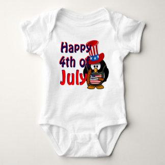 Happy 4th Of July Cute Patriotic Penguin Baby Bodysuit