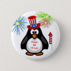 HAPPY 4TH OF JULY Cute Penguin Fireworks Rocket 6 Cm Round Badge