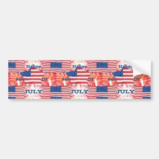 Happy 4th of July Flags Bumper Sticker