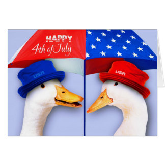 Happy 4th of July. Funny Ducks Customizable Cards