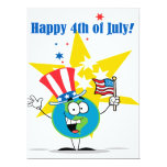 happy 4th of july globe cartoon patriotic 17 cm x 22 cm invitation card