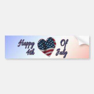 Happy 4th of July Heart - Bumper Sticker