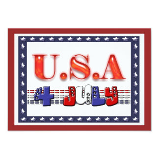 """Happy 4th of July Independence 5"""" X 7"""" Invitation Card"""