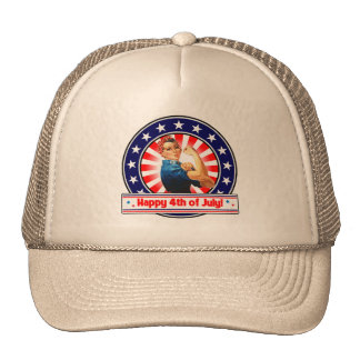 Happy 4th of July Patriotic USA Rosie The Riveter Cap
