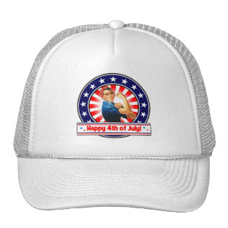 Happy 4th of July Patriotic USA Rosie The Riveter Trucker Hat