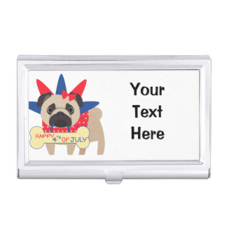 Happy 4th of July Pug in Statue of Libery Hat Case For Business Cards