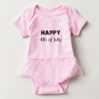 Happy 4th of July Rainbow Glitter Stars Typography Baby Bodysuit