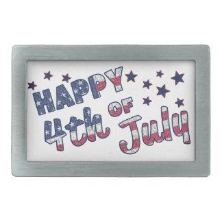 Happy 4th Of July Rectangular Belt Buckles
