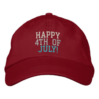 Happy 4th of July Red White & Blue Embroidered Hat