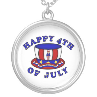 Happy 4th of July Round Pendant Necklace