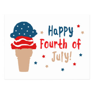 Happy 4th of July Stars and Stripes Ice Cream Postcard