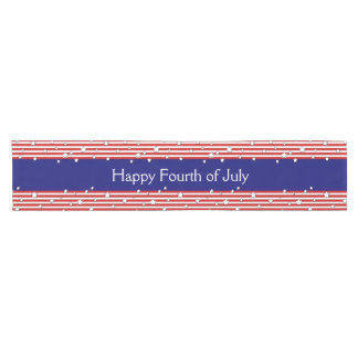 Happy 4th of July Stars and Stripes Red White Blue Short Table Runner