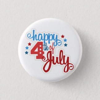 Happy 4th of July text 3 Cm Round Badge