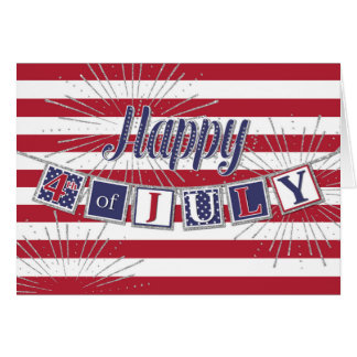 Happy 4th of July - Text Banner and Sparkle Effect Greeting Card