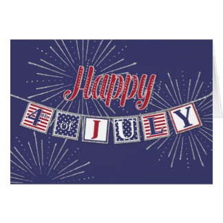 Happy 4th of July - Text Banner on Blue Greeting Card