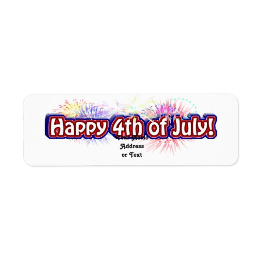 Happy 4th of July Text Design w/Fireworks Return Address Label