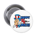Happy 4th of July Uncle Sam Pinback Buttons