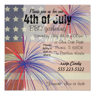 Happy 4th of July | Vintage Style 13 Cm X 13 Cm Square Invitation Card