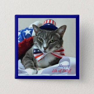 Happy 4th of July with cat 15 Cm Square Badge