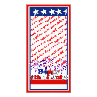Happy 4th of July with Fireworks Custom Photo Card