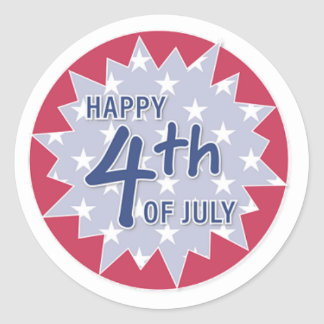 Happy 4th, Red Classic Round Sticker