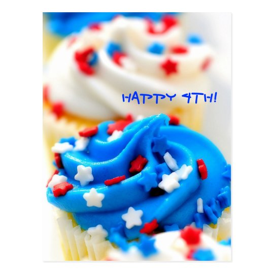Happy 4th!  Red, White and Blue Cupcakes Postcard