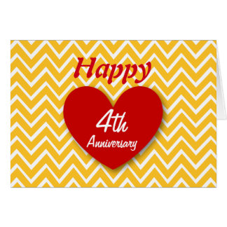 Happy 4th Wedding Anniversary Gold Chevrons B04 Card