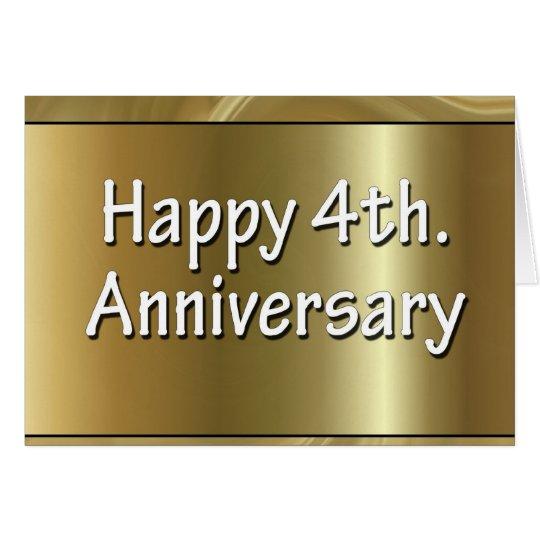 Happy 4th. Wedding Anniversary Silk Card
