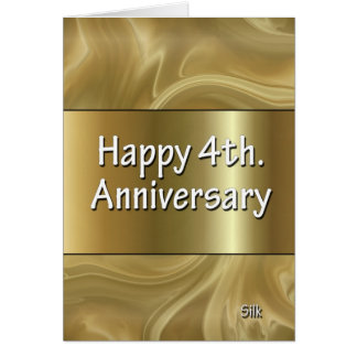 Happy 4th. Wedding Anniversary Silk Card