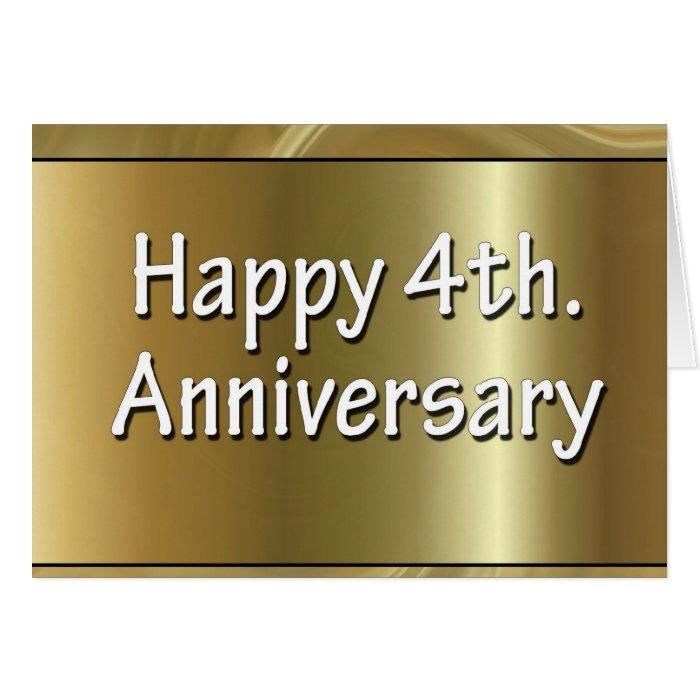 Happy 4th. Wedding Anniversary Silk Greeting Card