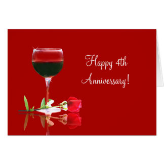 Happy 4th Wedding Anniversary Wine and Rose Card
