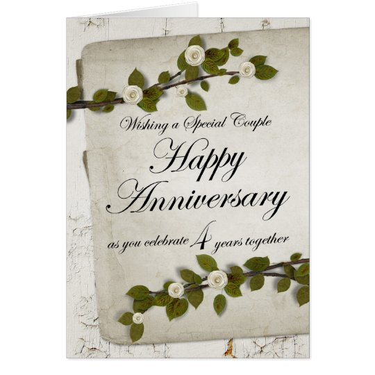 Happy 4th Year Anniversary Floral Card