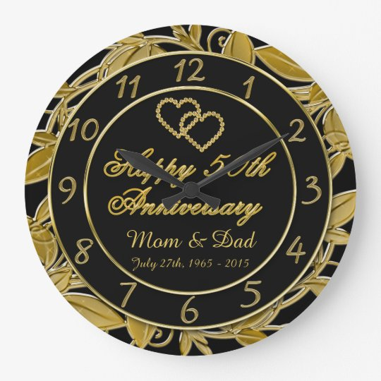 Happy 50th Anniversary Metallic Gold Leaf Numbers Large