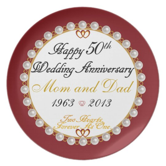 Happy 50th Anniversary Mum and Dad Plate