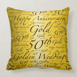 Happy 50th Anniversary Word Art Graphic Throw Pillow