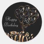 Happy 50th Birthday | Black Balloons Round Sticker