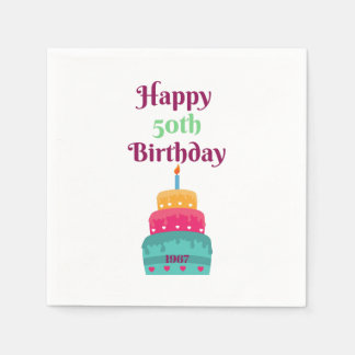 Happy 50th Birthday Cake Napkins Paper Serviettes