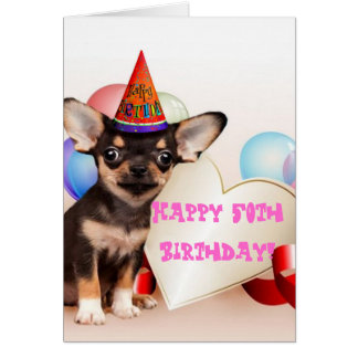 Happy 50th Birthday Chihuahua greeting card